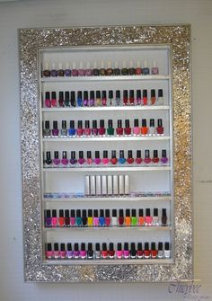 Mosaic Mirror framed nail polish rack with mosaic peices