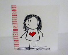 Small hand illustrated blank card