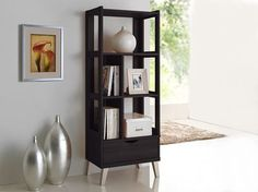 Baxton Studio Kalien Dark Brown Wood Leaning Bookcase with Display Shelves and One Drawer