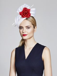 Juliette Botterill Millinery   Rose & Bow Teardrop   White and Headpieces   LOVEHATS.COM