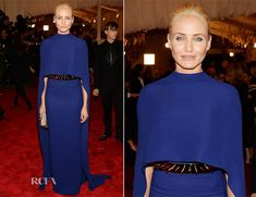 Cameron Diaz In Stella McCartney blue crepe gown with cape, gold spiked belt and platform stud sandals and wooden box clutch from Stella McCartney...LOVE her look!! :) - 2013 Met Gala