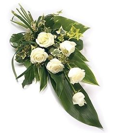 Funeral Sprays are a popular tribute expressing sympathy. Double ended Sprays sometimes referred to as Casket Sprays are often used to adorn a Casket with great splendour. Casket Flowers, Grave Flowers, Cemetery Flowers, Funeral Bouquet, Funeral Flowers, Funeral Floral Arrangements, Flower Arrangements Simple, Deco Floral, Arte Floral