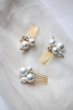 Bridesmaid Bridal Jewelry Set Pearl Hair Pins Bridal Mini Pins Cotton Pearl Mini Combs Small Hair Pins with Cotton Pearls ONE PIN - x Pearls aesthetic x - brautjungfern kleider Bridal Jewelry Sets, Bridal Hair Accessories, Bridal Earrings, Wedding Jewelry, Stud Earrings, Hair Jewelry, Fine Jewelry, Fashion Jewelry, Pearl Jewelry Set