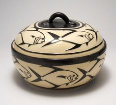 Permit Black and White Covered Hand Carved Sgraffito Serving Bowl