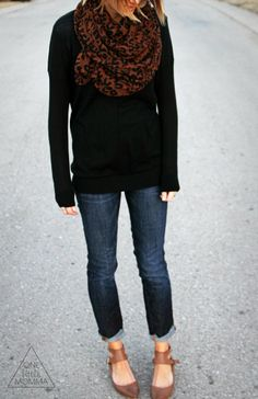 What I Wore - Leopard Scarf and Basic Black - ONE little MOMMA