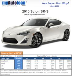 An affordable sports coupe. The 2015 Scion SR-S. Finance it at www.myautoloan.com