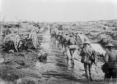 PASSCHENDAELE 100: Blog: https://justinfoxafrica.wordpress.com/category/blog/ Caption: Infantry heading up the line at Passchendaele. (photo: 1914centenary.com)
