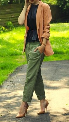 Women's Olive Chinos, Tan Leather Pumps, Tan Blazer, Gold Bracelet, and Black Peplum Top