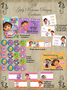 Dora The Explorer Dora & Friends Birthday Party - TONS of DORA ITEMS. $14.00, via Etsy.