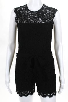 bac105095248 Karina Grimaldi Black Lace Belted Crew Neck Romper Size Extra Small
