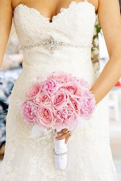Blush pink bridal bouquet by Flora Couture; Green Orchid Events;