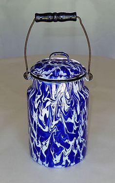 Spectacular Cobalt Blue and White Large Swirl Graniteware Milk Can | eBay