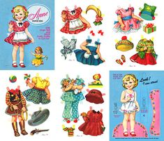"""Anne,  A Paper Doll  A playmate for Sally and Helen, Anne (10"""" high) has a wardrobe of cute, colorful clothes for school, dress-up and play.. For a sturdier doll, glue figure and stand to another piece of cardstock. 2 of 2"""
