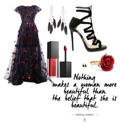 """Red and black combination!"" by eldina-salihovic ❤ liked on Polyvore featuring Oscar de la Renta, Jimmy Choo, Charlotte Russe and Smashbox"