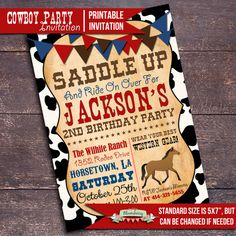 Boy Cowboy Birthday Party Invitation Custom Printable Cowboy