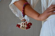 Banjara gypsy tassel beaded pompom arm wrist cuff by Faerymother