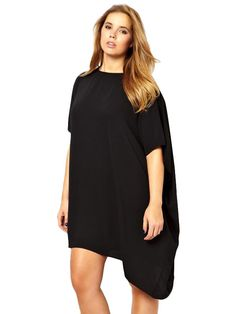 8073a623ad9d44 ASOS CURVE Dress With Asymmetric Hem - bare legs in the winter. Negative