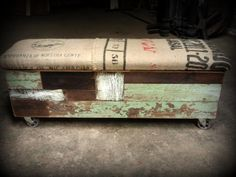 salvaged wood and recycled coffee sack storage bench w/ industrial casters / from Recycled Brooklyn on Etsy