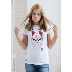 Japanese Shirt Kitsune Fox Mask T Shirt Kitsunemen Kitsune Men Inari... ($20) ❤ liked on Polyvore featuring tops, t-shirts, white, women's clothing, white wrap shirt, print t shirts, party t shirts, destroyed t shirt and wrap shirt