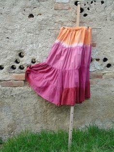 Hippie volánová sukně s organtýnem