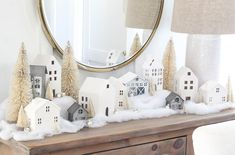 Indoor and Outdoor Christmas Decorations Christmas Village Display, Easy Christmas Decorations, Christmas Tablescapes, Christmas Mantels, Christmas Villages, Holiday Decor, Christmas Village Houses, Blue Christmas, Winter Christmas
