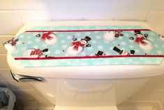 "Snowman Fabric Toilet Tank Topper or Mini Table Runner 6.5"" x 20"""