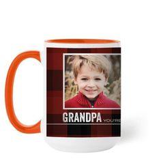 You're The Best Plaid Mug, Orange, 15 oz, Red