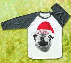 Pug TShirts Merry Christmas TShirts Baseball Tee by wearabletee