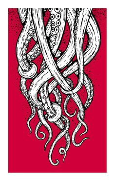 Octopus tentacle drawing negative space pop of color