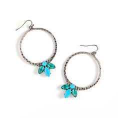 Vivica Earrings $48 Vivica combines the rustic appeal of hammered hematite with vivid turquoise stones. Always on-trend marquis cuts form Vivica's leaf like design. These versatile boho chic hoops are bound to become fast faves. http://saranicole.kitsylane.com