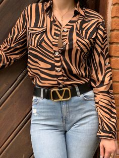 Blusas Animal Print, Indiana, Ideias Fashion, Blouse, Long Sleeve, Sleeves, Tops, Women, Long Sleeve Tees