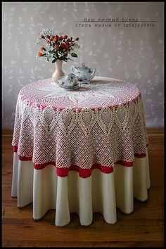 Купить скатерть круглая ПЕТРА - купить скатерть, скатерть вязанная, вязаный текстиль, текстиль для дома