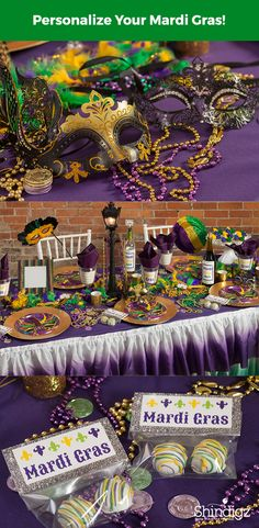 Our Mardi Gras Masks Deluxe Party Pack features brightly colored mask designs accented with feathers and beads. This deluxe party pack will come with eight place settings, coordinating decorations and a personalized vinyl banner.