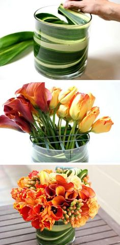 Use large leaves to disguise floral foam and stems. - Use large leaves to disguise floral foam and stems. — 13 Clever Flower Arrangement Tips & Tri - Diy Flowers, Flower Vases, Fresh Flowers, Flower Decorations, Beautiful Flowers, Wedding Flowers, Bouquet Flowers, Spring Flowers, Paper Flowers