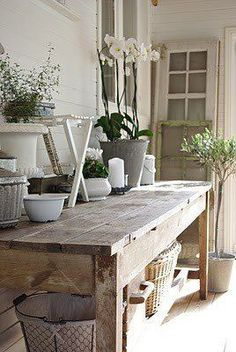 "An artsy potting bench.old wood and rustic.yep, I would definitely love ""diggin' in the dirt"" at this wonderful potting bench. Outdoor Rooms, Outdoor Living, Outdoor Tables, Outdoor Buffet, Farm Tables, Wood Tables, Kitchen Tables, Rustic Outdoor, Outdoor Decor"