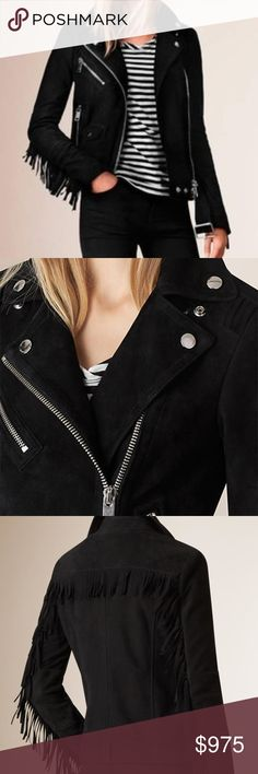 NWT🆕BURBERRY🎁Arnstead Suede Leather Biker Jacket Sumptuous Suede Leather ❤️ softens the rugged moto vibe of a short notch-collar jacket w/iconic asymmetrical styling, shining hardware + channel-stitched detailing. Swingy fringe at the yokes and sleeves adds a dash of boho flair🎉 Two-way front-zip closure, long sleeves w/snap cuffs + distressed zip front pockets; snap-flap pocket w/removable belt, fully lined in cotton. SOLD OUT!  Size 4 = 2/Small/XS 100% Authentic w/original tags attached…