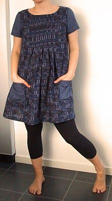 Like this combo Indigo color. Mixed prints.  Pockets.  Shirred under bodice.  Short sleeves.  And so cool with tights or leggings.