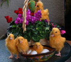 Needle Felted Animals Yellow Easter Duckling by darialvovsky