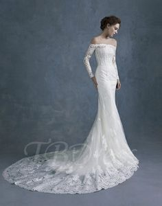 Tbdress.com offers high quality Off The Shoulder Long Sleeves Lace Mermaid Wedding Dress Latest Wedding Dresses unit price of $ 182.39.