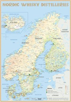 Nordic Whisky Distilleries · TastingMap 24 x 34 cm · ISBN 978-3-944148-14-4 · Whisky Distilleries in North Europe (Denmark / Iceland/ Norway / Sweden & Finland) · www.alba-collection.com
