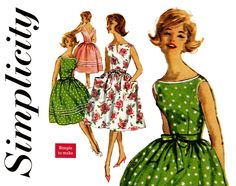 1960s Dress Pattern Bust 34 Simplicity 3463 Wrap Around Low Back Fit & Flare Full Skirt Summer Party Sundress Womens Vintage Sewing Patterns by CynicalGirl on Etsy