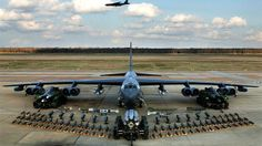 The B-52 remains a vital combat asset because of its intercontinental range — some 8,800 miles without refueling — and large weapon load — 70,000 pounds of conventional and/or nuclear ordnance. Pictured, a static display of various ordnance loads that the B-52 is capable of delivering.