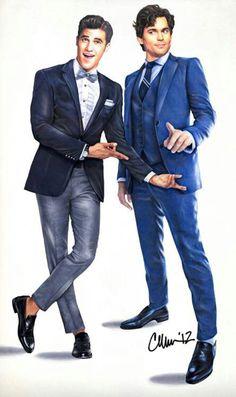 """Super cool drawing!  Matt and Darren Criss from """"Glee"""""""