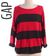 Gap Striped Slouch Sweater Red and gray striped sweater from the GAP. Size small. Slouchy, oversized so will fit a medium as well. Like new! GAP Sweaters