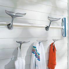 Whale Tail Hooks for Beach Bathroom