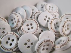 20 Sailor Nautical Buttons 13mm Gold and White Pinwheel by WNBrunk