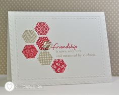 handmade card ...  one layer ... clean and simple ... Dynamic Duos challenge: Crumb Cake (kraft) + Primrose Petals ... stamped hexagons ... sweet sewing friendship sentiment ... Paper Trey Ink images ...