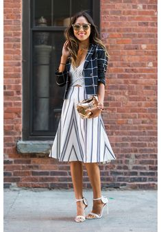 Streetlooks à la Fashion Week de New York - Graphic stripes / checks