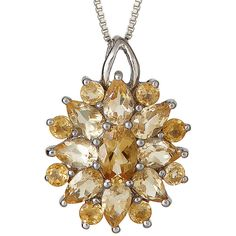LIMITED QUANTITIES Genuine Citrine Starburst Pendant Necklace (450 BRL) ❤ liked on Polyvore featuring jewelry, necklaces, pendant necklaces, long pendant necklace, citrine pendant, long necklace pendant and citrine jewelry