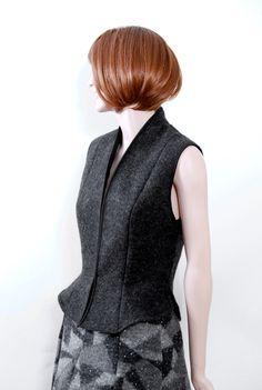 Vest - wool, dark grey